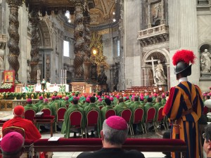 The Pope preaching to the delegates of the synod