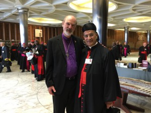End of a day: delegates leaving, here Thomas Schirrmacher with the Patriarch of Antioch and Cardinal Rai, head of the Western rite Catholics in the Middle East