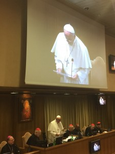 The Pope giving the final speech after voting in of the final document.